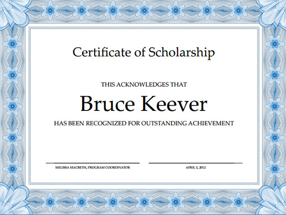Scholarship Certificate Template - 6+ Free Download for Word, PDF