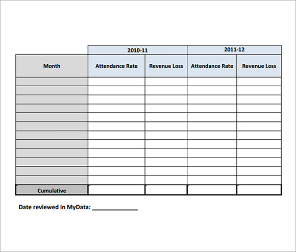 Attendance Tracking Template   Free Download For Pdf