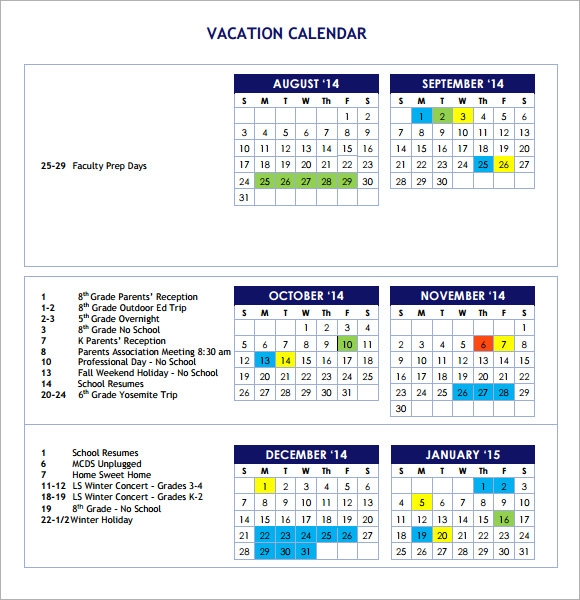 Sample Vacation Calendar   Documents In Pdf
