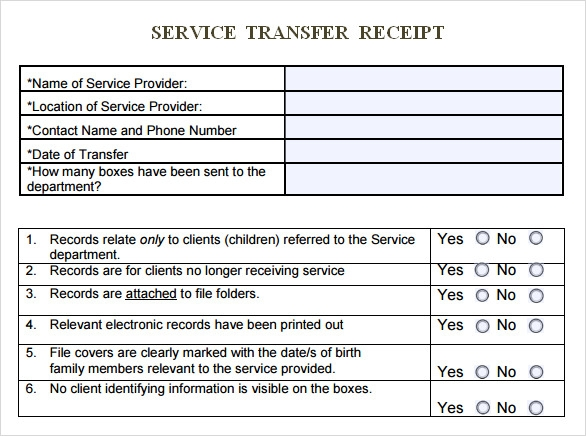 service transfer receipt template