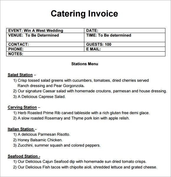 Sample Catering Invoice Template 10 Free Download