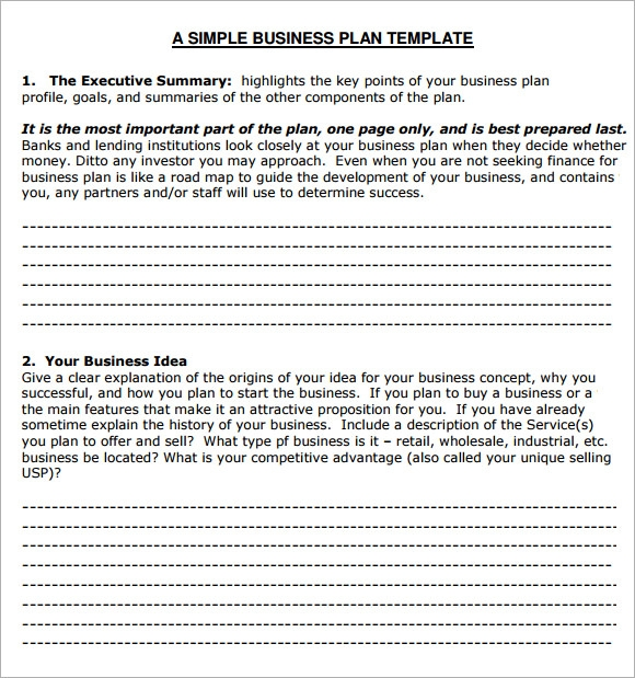 small business plan template free - small business plan template 6 free download for pdf