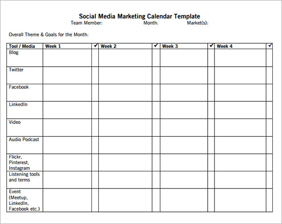 Free Marketing Calendar Template | Calendar Template 2016