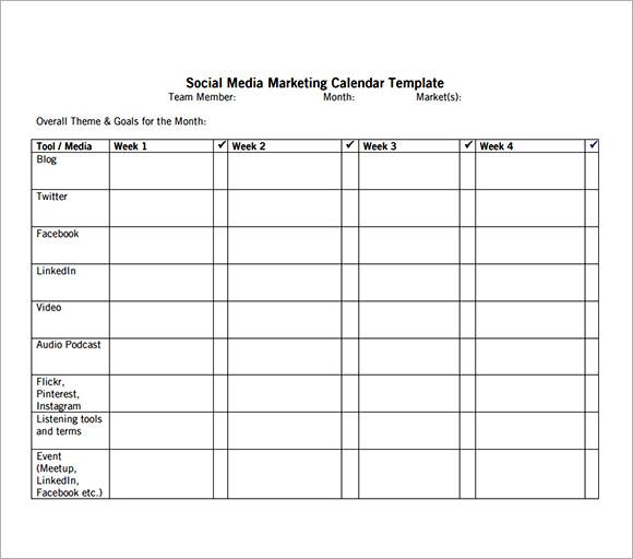 Social Media Calendar Template - Instagram calendar template