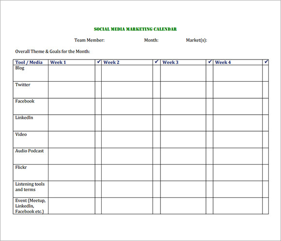 Sample Social Media Calendar Templates To Download Sample Templates - Social media schedule template