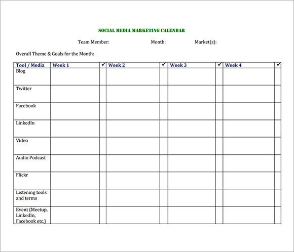 Media Calendar Template - 8+ Free Download for PDF   Sample Templates ...