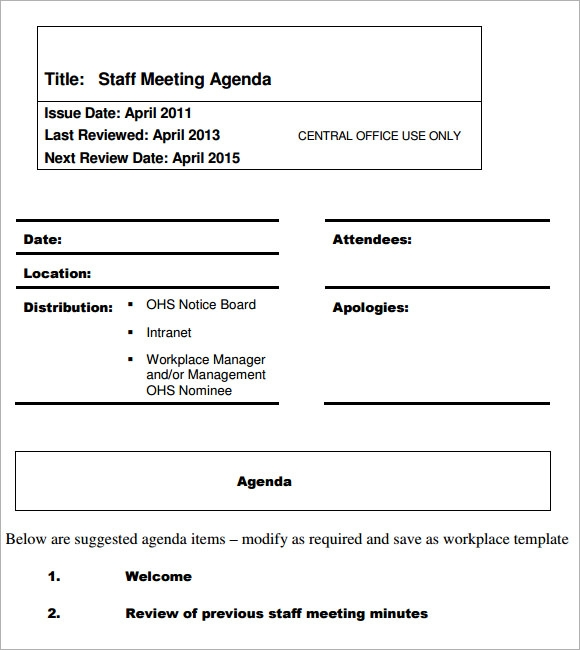 Sample Staff Meeting Agenda 5 Example Format – Meeting Agenda Format