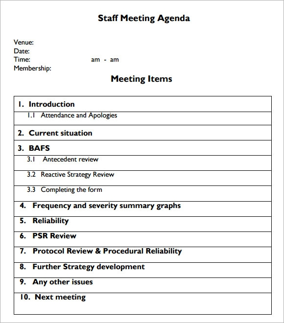 Sample Staff Meeting Agenda 4 Documents For Pdf .  Agenda Meeting Example