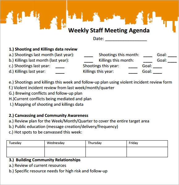 Sample Staff Meeting Agenda 4 Documents for PDF – Samples of Agendas for Meetings