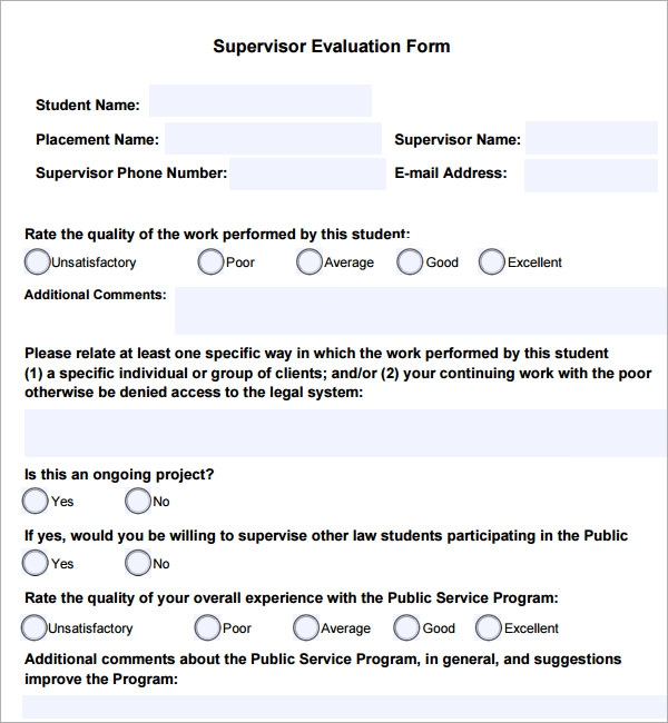Sample Supervisor Evaluation   Documents In Pdf