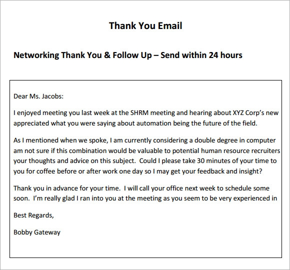 5 thank you email samples sample templates for Thank you email template after meeting