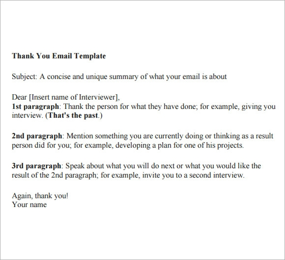 Sample Thank You Email   Documents In Pdf