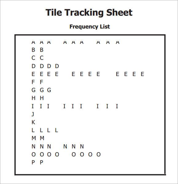 tile tracking sheet