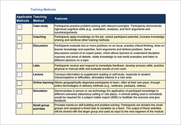training agenda sample