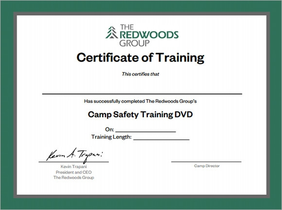 Sample Training Certificate Template   Documents In Psd Pdf