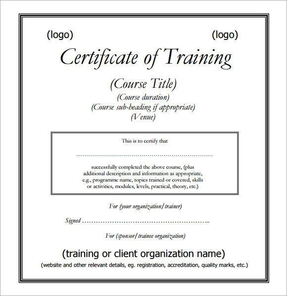 Training Certificate Template Pdf