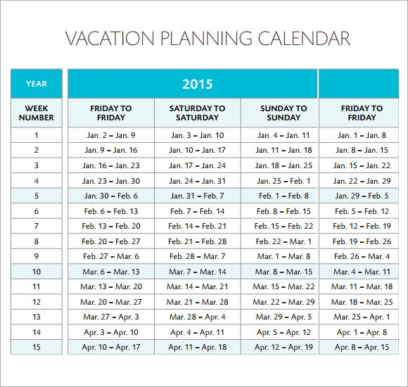 Sample Vacation Calendar 6 Documents in PDF – Sample Vacation Calendar