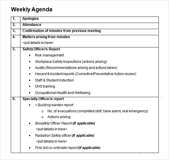 Daily Agenda Template   Download Free Documents In Pdf