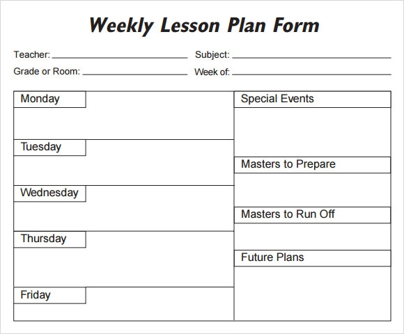 Lucrative image with regard to printable weekly lesson plan templates