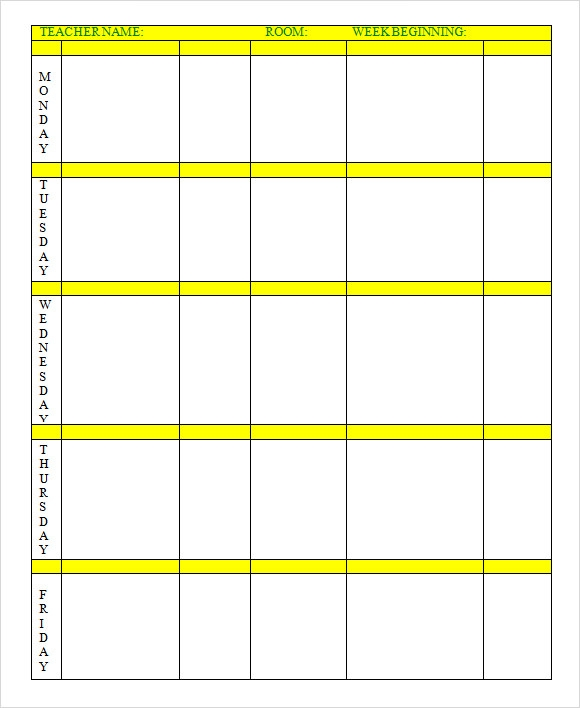 Excel Lesson Plan Template  Template