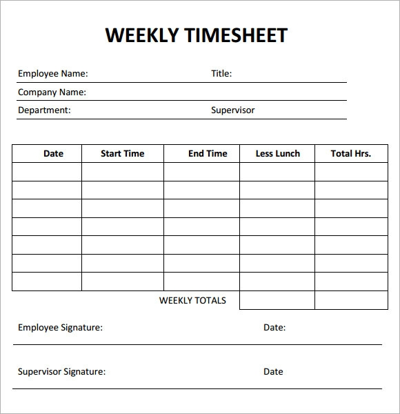 weekly timesheet template 7 free download for pdf
