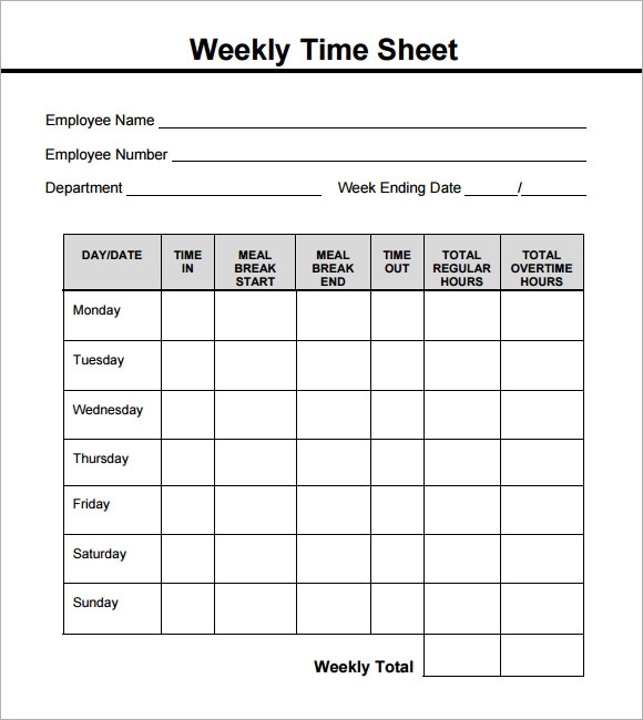 Weekly Timesheet Template   Free Download In Pdf