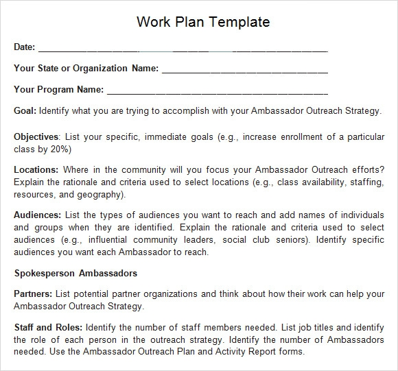 Work Plan Template - 12+ Download Free Documents For Word, Excel, Pdf