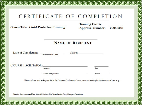 Work Shop Training Certificate Format  Course Completion Certificate Format