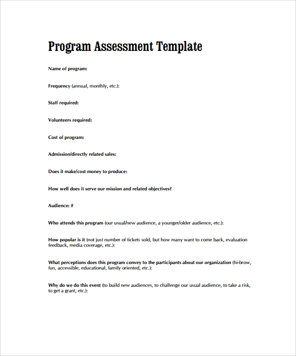 Career Assessment Template   Download Free Documents In Pdf