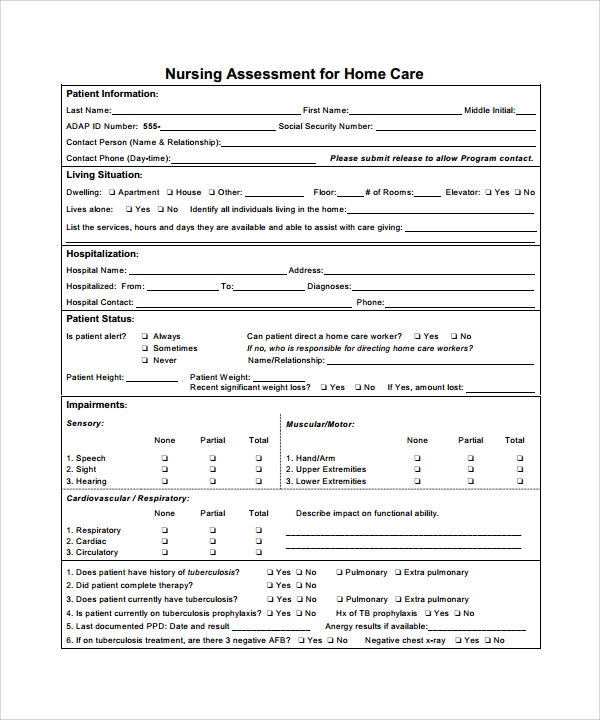 Nursing Assessment Forms Example Of Clinical Scenario And Abcde
