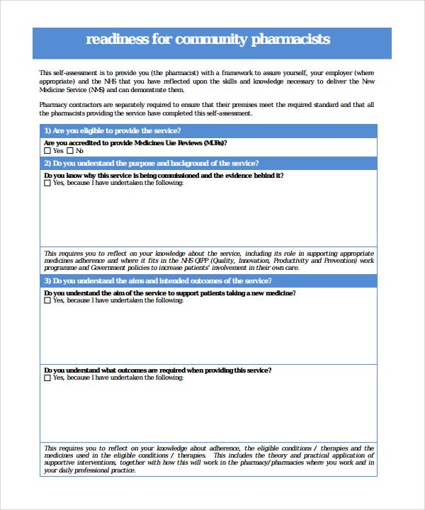 self assessment template1