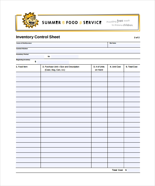 Inventory Sheet Template - 8+ Download Free Documents In Pdf
