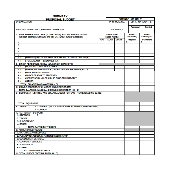 Budget Proposal Template   Free Download For   Word  Excel