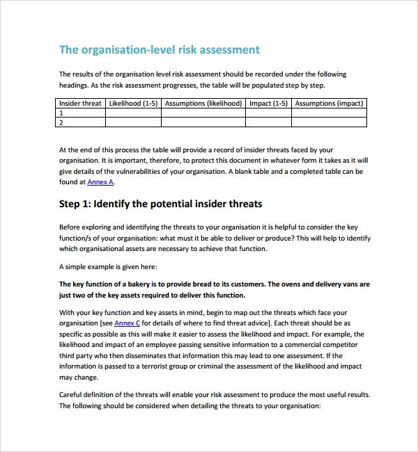 Risk Assessment Report RiskAssessmentReportExampleRisk