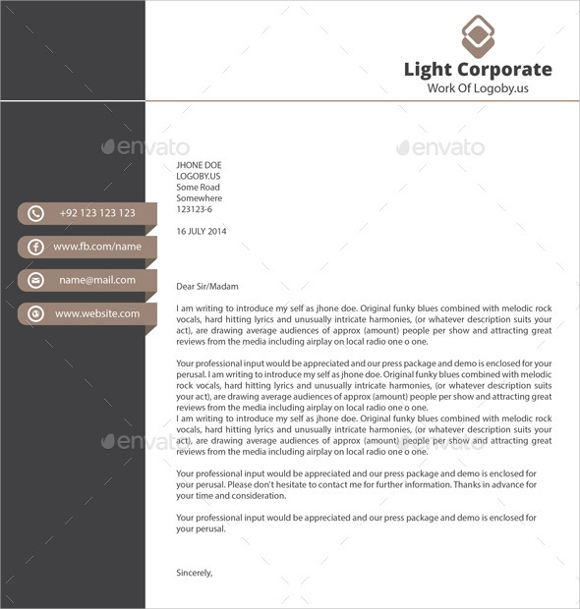 Sample Personal Letterhead Template 9 Premium and Free Download – Personal Letterhead