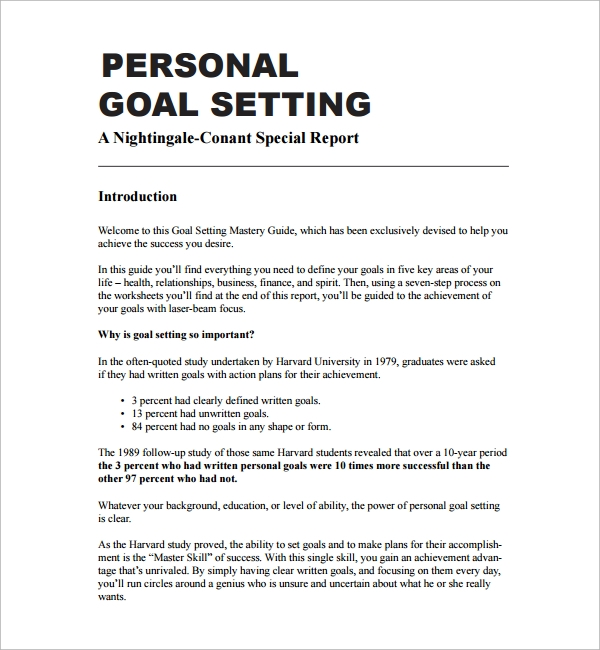 Sample Goal Tracking Personal Goal Setting Template Goal Setting