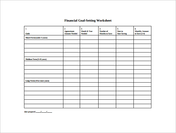 Worksheet Financial Goal Setting Worksheet goal setting template 12 download free documents in pdf word financial template