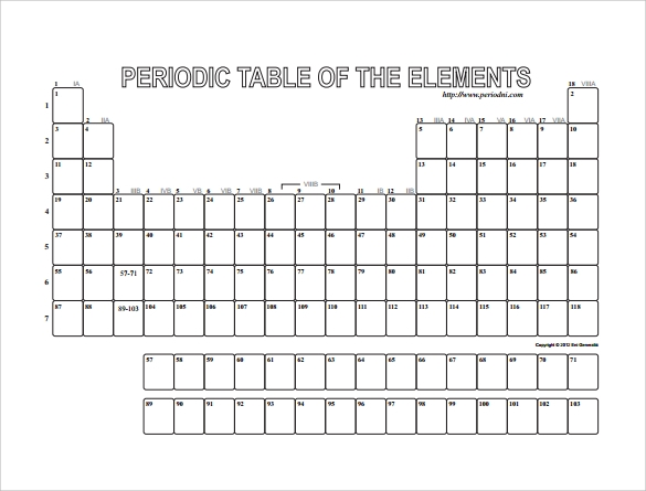 Impertinent image throughout blank periodic table printable