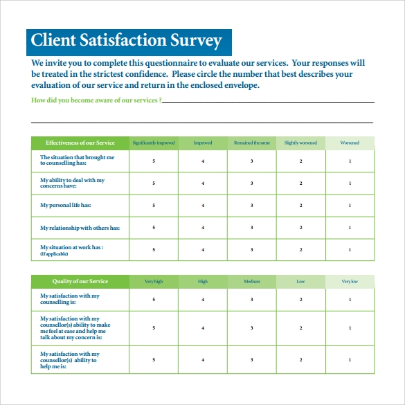 Sample Client Satisfaction Survey 6 Documents in PDF – Sample Client Satisfaction Survey