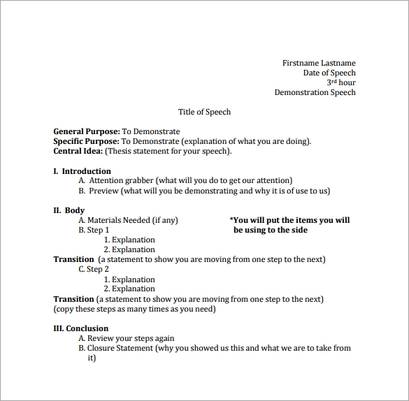 Sample Speech Outline Template   Free Documents Download In