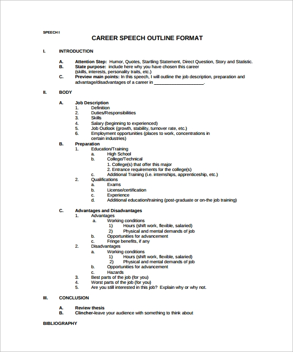 Speech Format Career Speech Outline Pdf Template Free Download