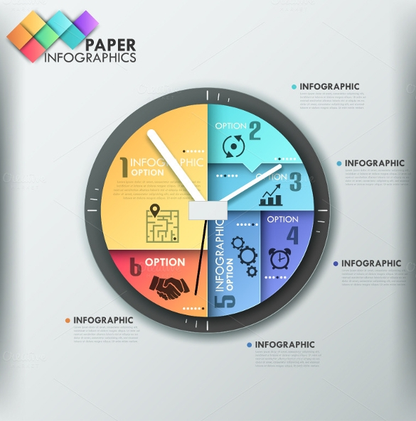 clock paper infographic template