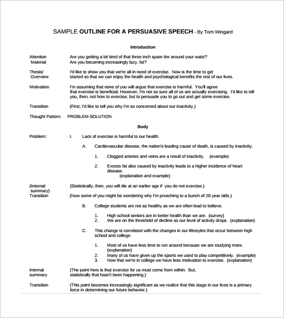 sample speech outline template documents in pdf persuasive speech outline pdf template