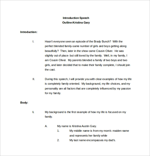 Sample Speech Outline Template 9 Free Documents Download in PDF – Introductory Speech Example