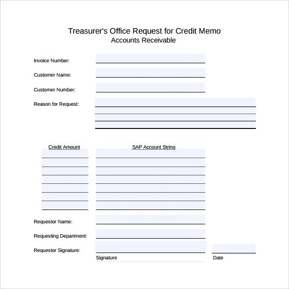 Request For Credit Memo  Credit Memo Sample
