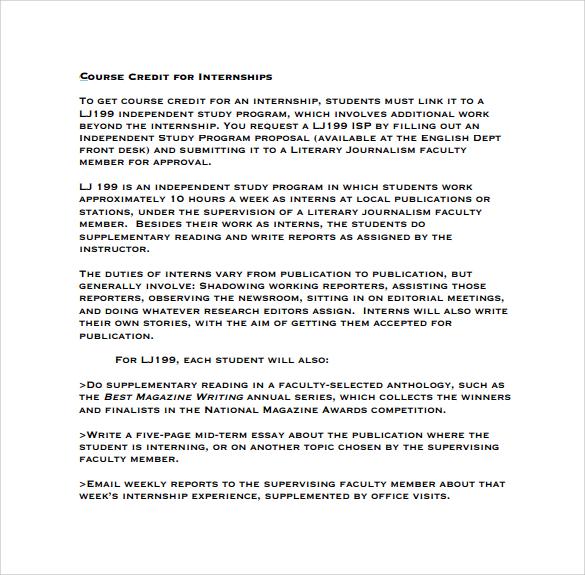 internships course credit memo