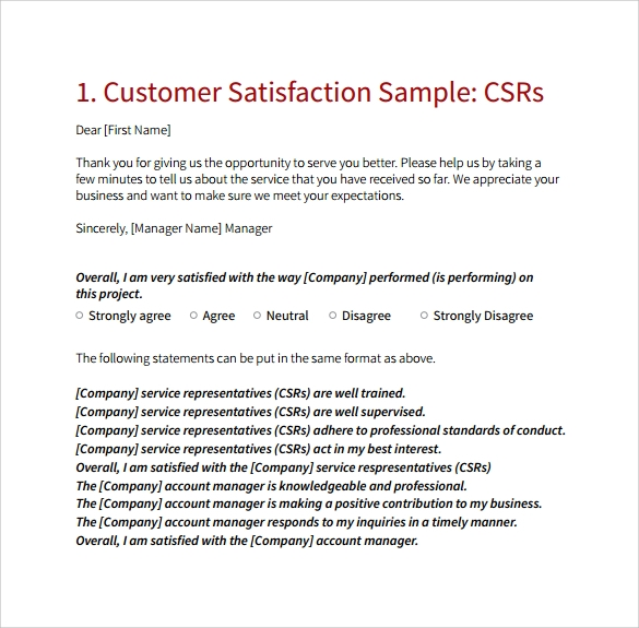 free 14  sample customer satisfaction survey templates in