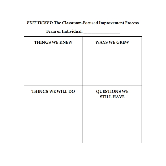 Best Exit Ticket Template  Blank Ticket Template