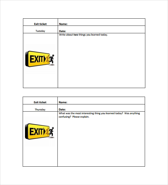 Exit Ticket Template 9 Download Free Documents in PDF Word – Free Printable Ticket Template