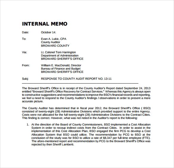 internal memo sample